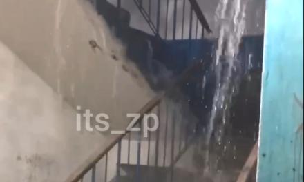 Мешканці багатоповерхівки у Запоріжжі купалися під «водоспадом» у коридорі – відео