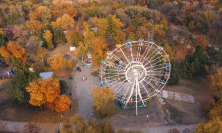 Фотограф показав, як виглядає центральний парк Запоріжжя з висоти пташиного польоту